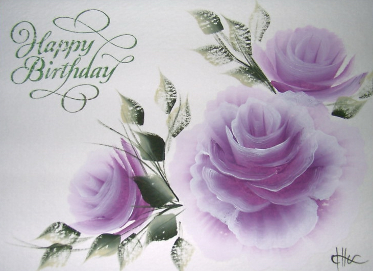 Hand Painted Greeting Cards Happy Birthday Wishes With Roses